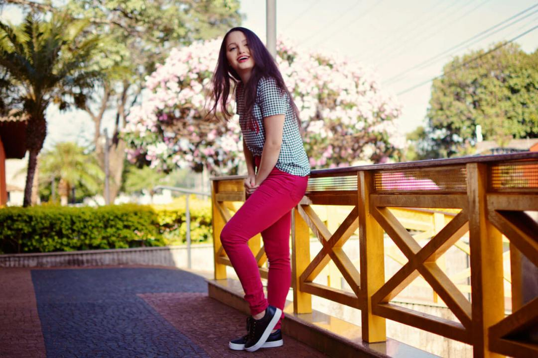 Xadrez Vichy e Calça Pink