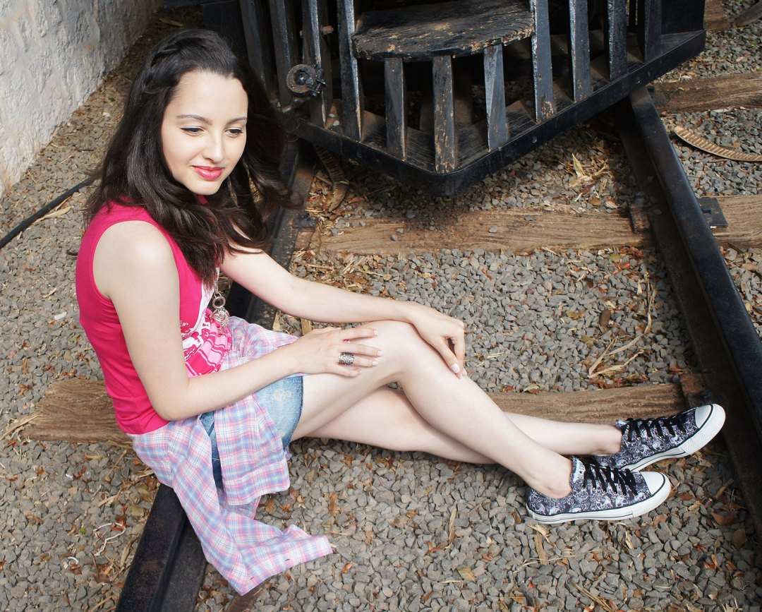 Look Pink Jeans e All Star