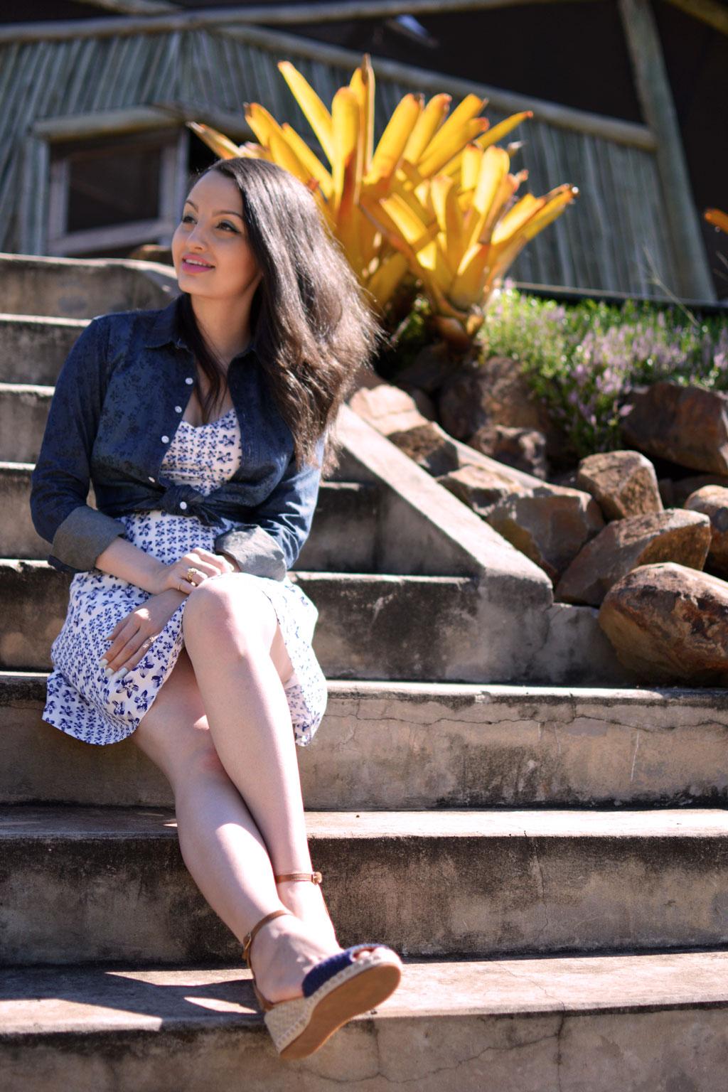 Look Vestido Sandália AzuL