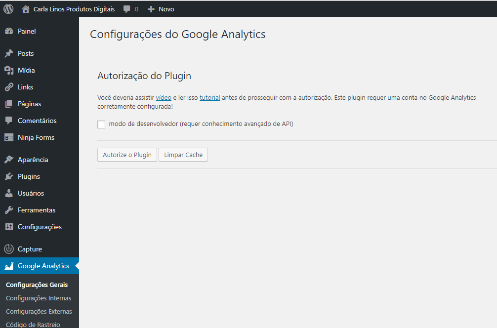 autorizar google analytics dashboard