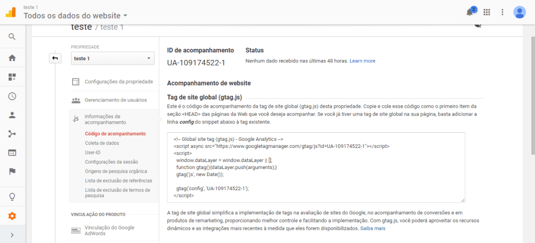 rastreamento google analytics