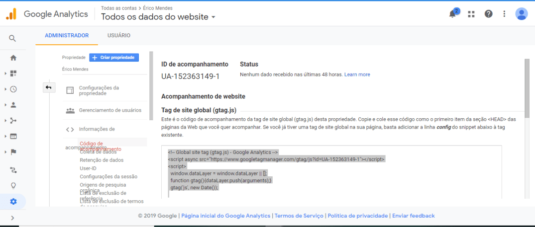 Código de rastreamento do Google Analytics