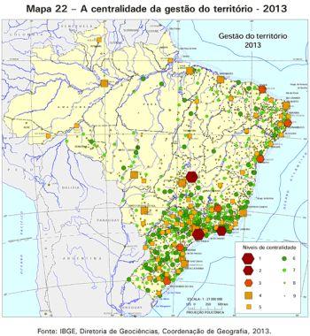 Mapa ibge centralizacao IBGE mapeia centralidade da gestão do territorio brasileiro