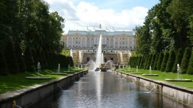 Grande Cascata Peterhof São Petersburgo Rússia Mundo Indefinido