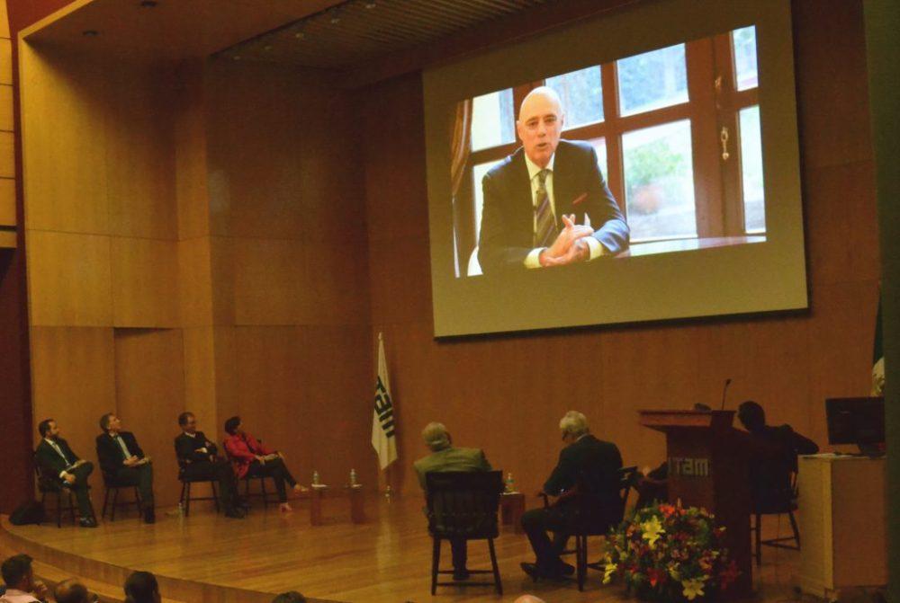El rector Arturo Fernández en el video-homenaje a Federico Estévez / Imagen: ITAM