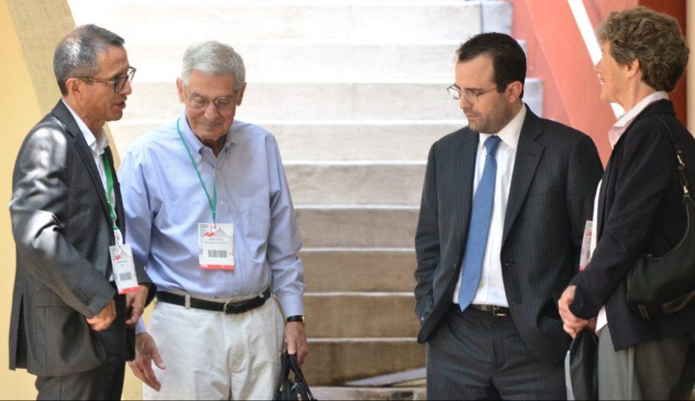 Dr. Germán Rojas, Dr. Robert Lucas, Dr. Diego Domínguez y Dra. Nancy Stokey en el congreso anual SED 2018. Foto: ITAM