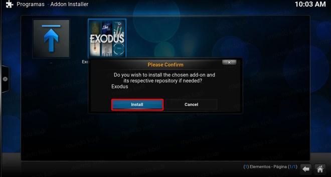 Exodus en Kodi. confirm