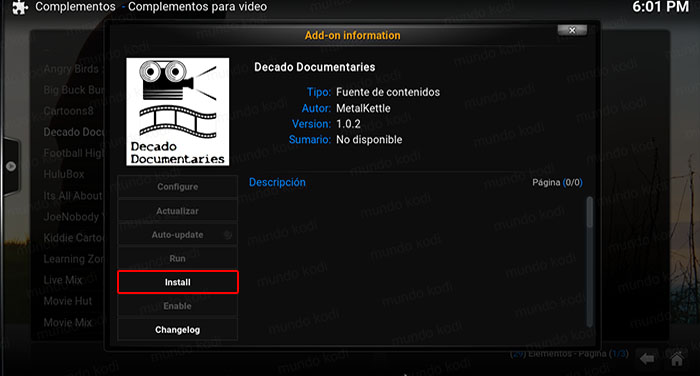 decado documentaries en kodi install decado