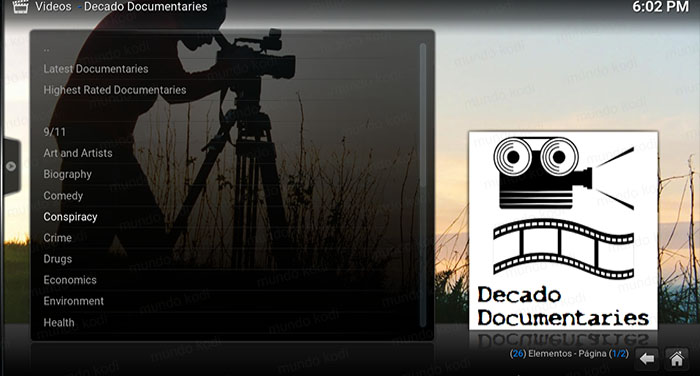 decado documentaries en kodi lista