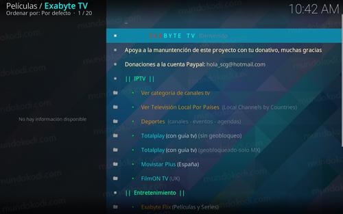 addon exabyte tv en kodi