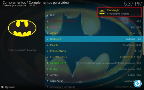 addon the dark knight en kodi