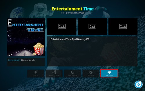 addon Entertaiment en Kodi