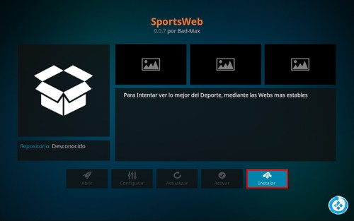 addon sports web en kodi