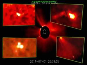 Extraños OVNIs en nuestro sol, 1-07-11