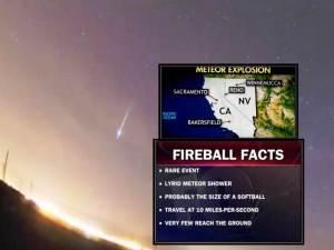 Meteoro/Bola de fuego causó sonido como de explosión desde el norte de Nevada al sur de California – 22 de abril 2012