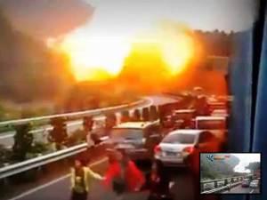 Explosión de gas mortal en carretera de China – Oct 8, 2012