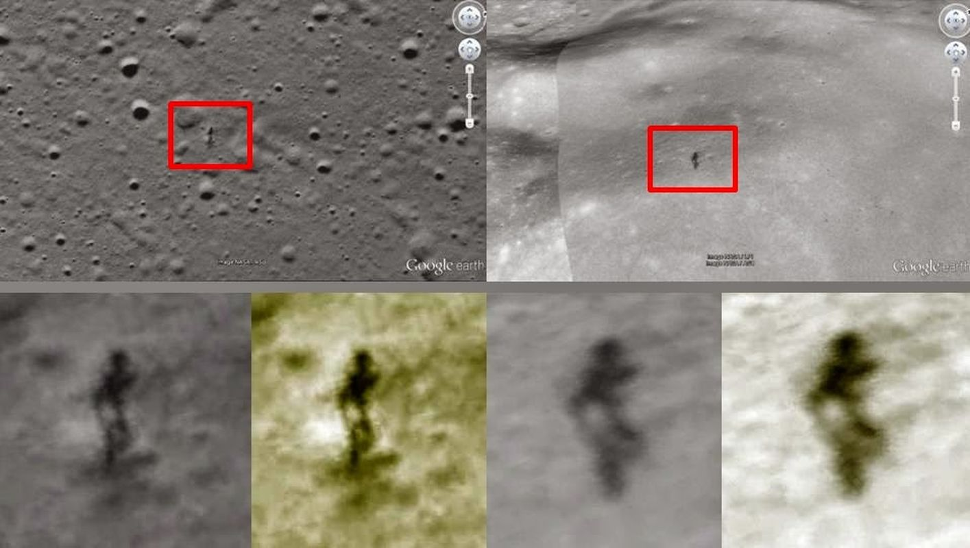 Dos figuras humanoides vistas en la luna separadas entre sí 600 km
