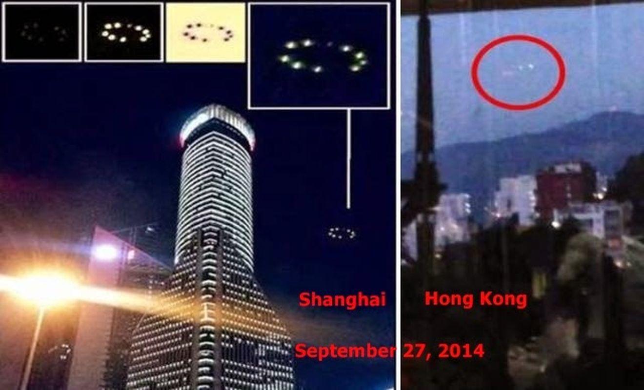 Luces formando un anillo en Shanghai y Hong Kong