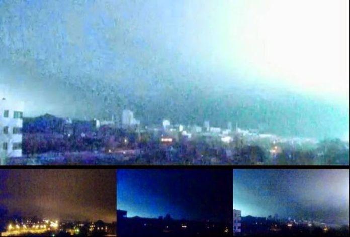 Gran destello en el horizonte de Donetsk en Ucrania