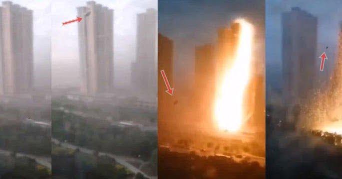 Un rayo golpeó la línea eléctrica en China o fue un ovni (4 de agosto de 2020)