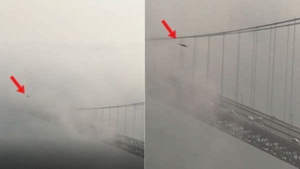 Ovni moviéndose a través del puente Golden Gate a tremendas velocidades