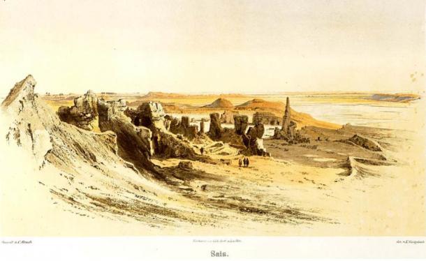 Detalle, Ilustración de las ruinas de Sais, 1878