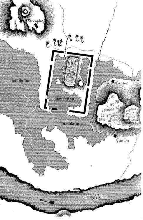 Mapa de Sais ruinas dibujado por Jean-François Champollion durante su expedición en 1828