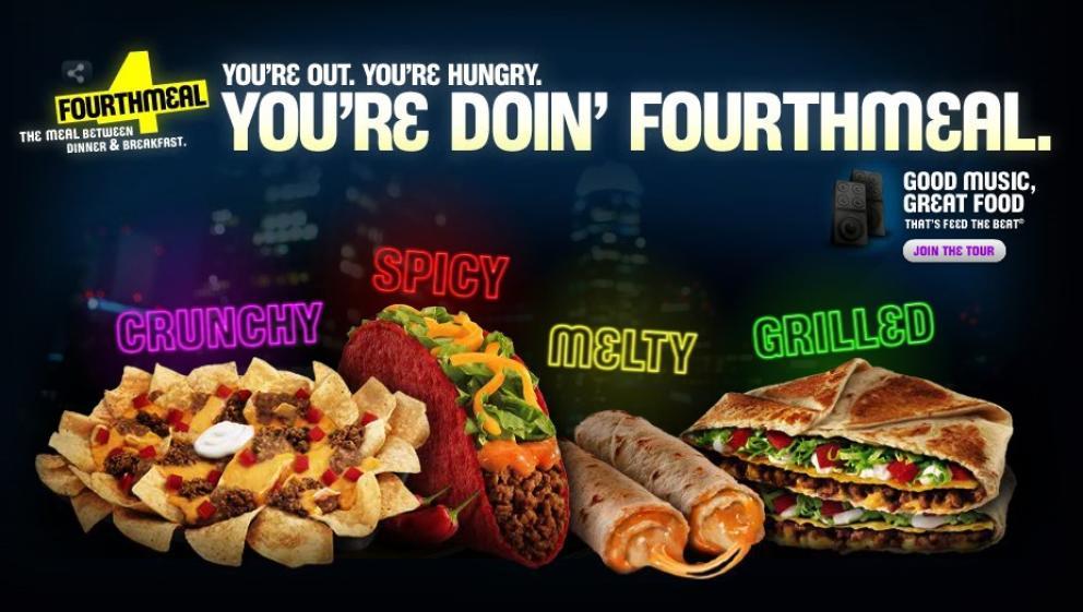 Anuncio de Taco Bell promocionando la 'cuarta comida', entre la cena y el desayuno.