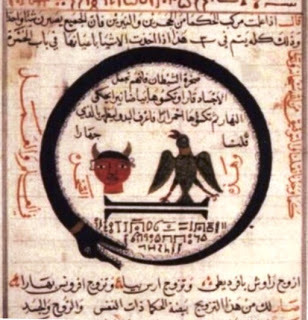 Ouroboros egipcio. Jeroglifico copiado del libro de alquimia de abu al qasim al iraqi