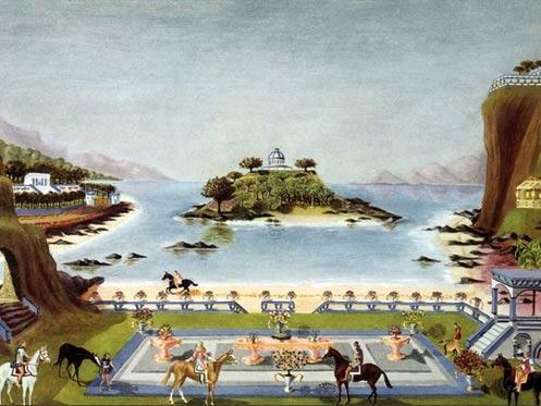 Ilustración de Sir Gerald Hargreaves que muestra una escena utópica de la tierra mítica de la Atlántida