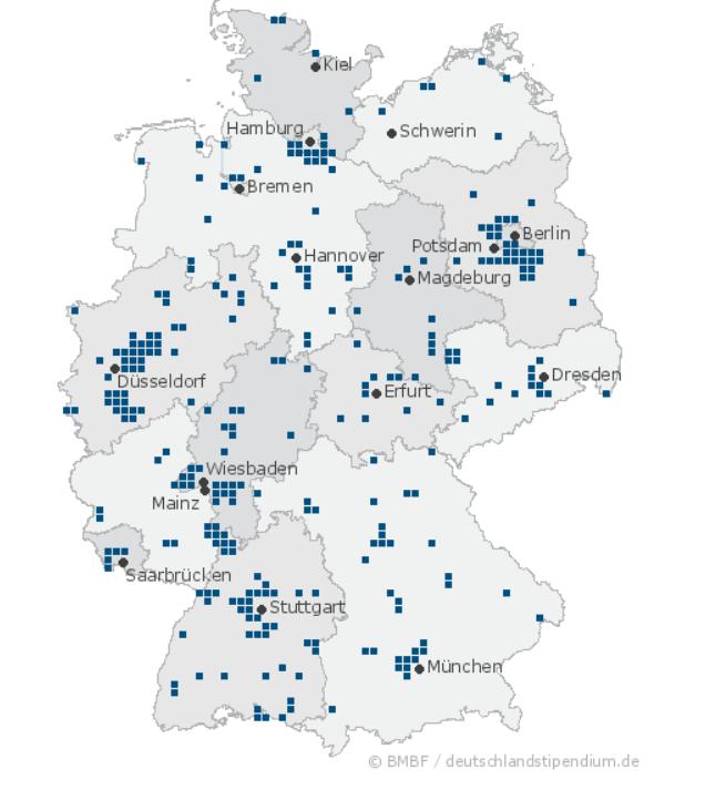 عدد الجامعات الألمانية الداخلة في المنحة الألمانية Deutschlandstipendium