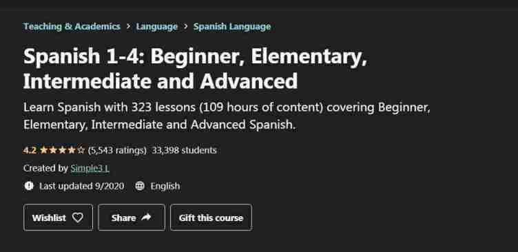 كورس Spanish 1-4: Beginner, Elementary, Intermediate and Advanced