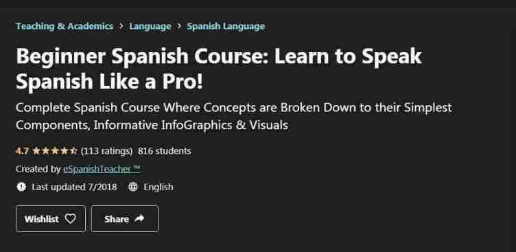 كورس Beginner Spanish Course: Learn to Speak Spanish Like a Pro!