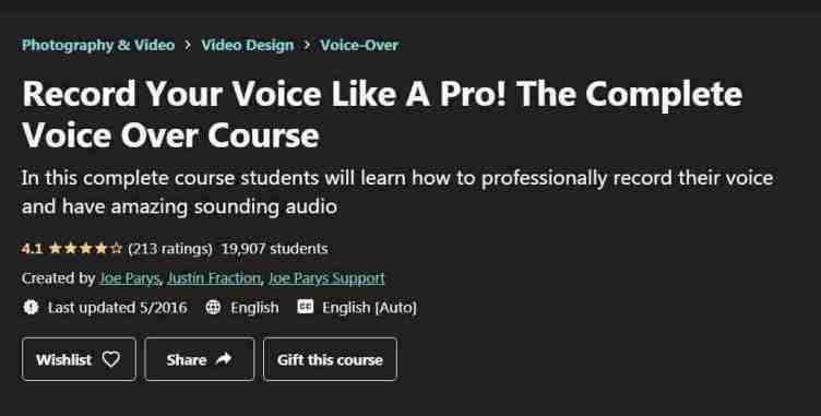كورس Record Your Voice Like A Pro! The Complete Voice Over Course