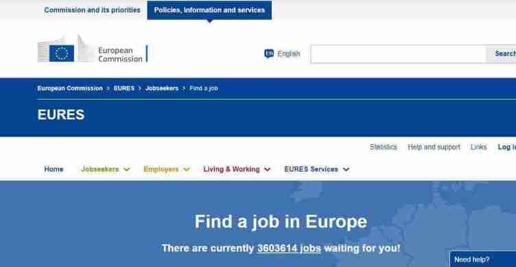 الصفحة الرئيسية لموقع EURES للبحث عن عمل في ألمانيا