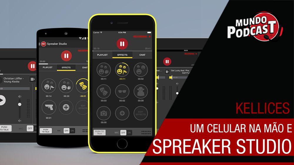 Um celular na mío e Spreaker Studio