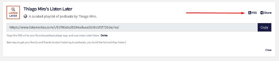 copiando o feed da playlist