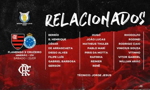 Veja os jogadores do Flamengo relacionados para a partida contra o Cruzeiro