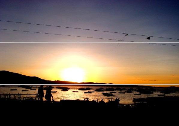 Pôr-do-sol na cidade de Copacabana, às margens do lado Titicaca, na Bolívia.