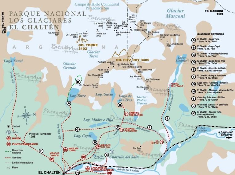 Mapa do Parque Nacional Los Glaciares, parte de El Chaltén