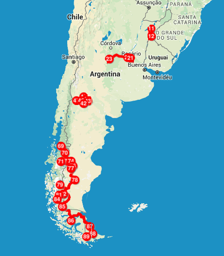 Mapa de onde viajamos de carona