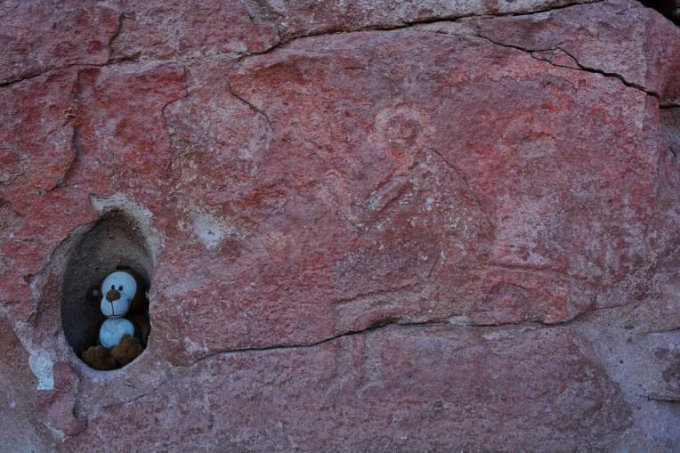 Mucuvinha com um hieróglifo de um macaco. Yerbas Buenas, Atacama