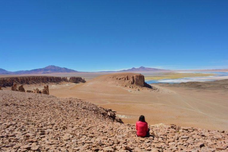 Michele observando o Salar de Tara, no Deserto do Atacama
