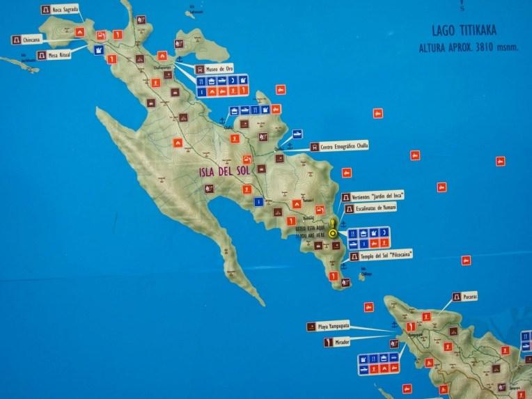 Mapa da Isla del Sol