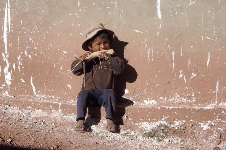 Depois do Tinku, a paz voltou a reinar, e este menininho pôde comer sua cana tranquilamente pelas ruas de Macha