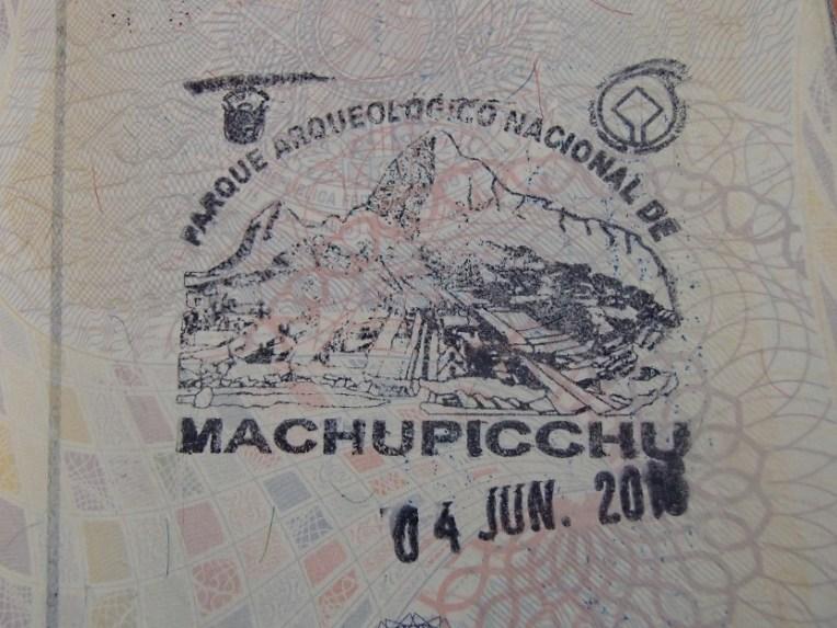 Passaporte carimbado para Machu Picchu
