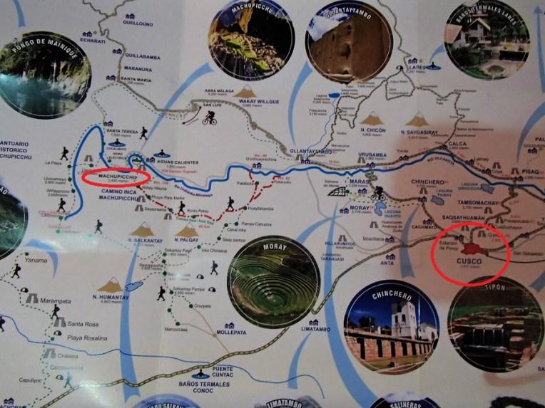 Mapa com toda a região de Cusco e Machu Picchu
