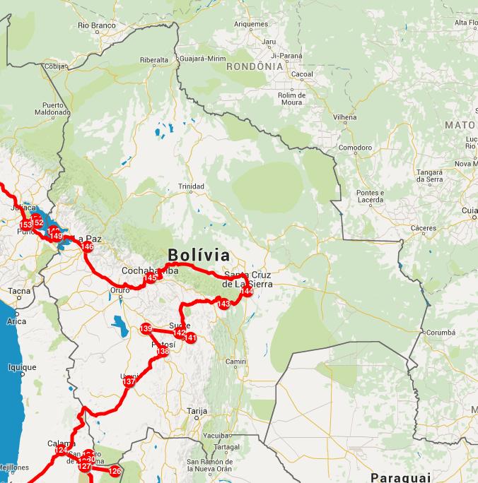 Mapa da nossa passagem pela Bolívia