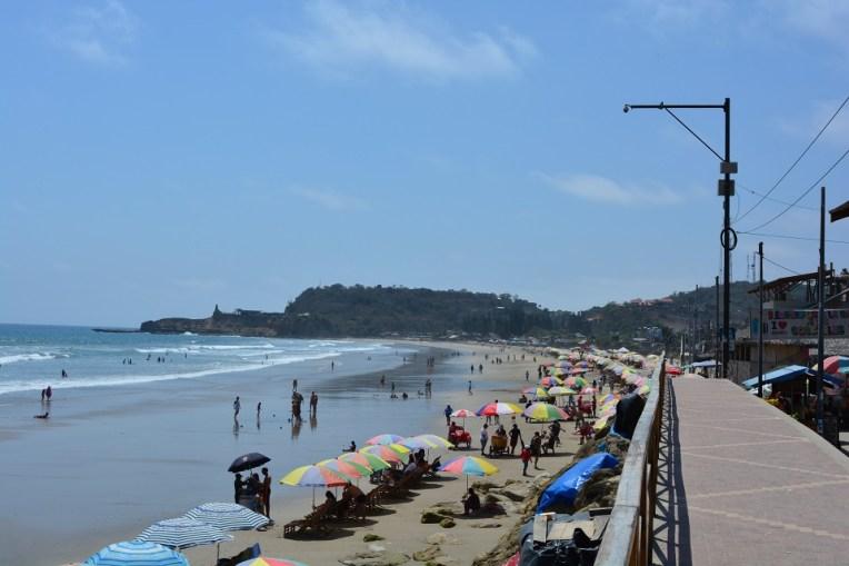 A praia de Montañita