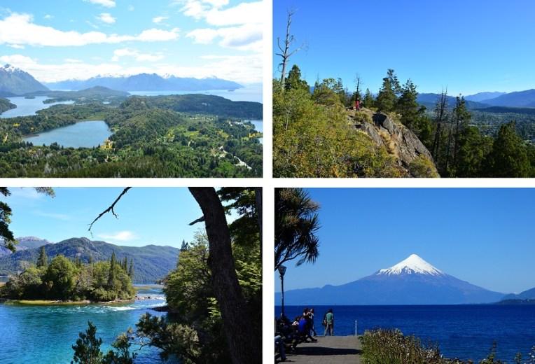Em sentido horário: Bariloche, El Bolsón, Puerto Varas, Parque Los Alerces